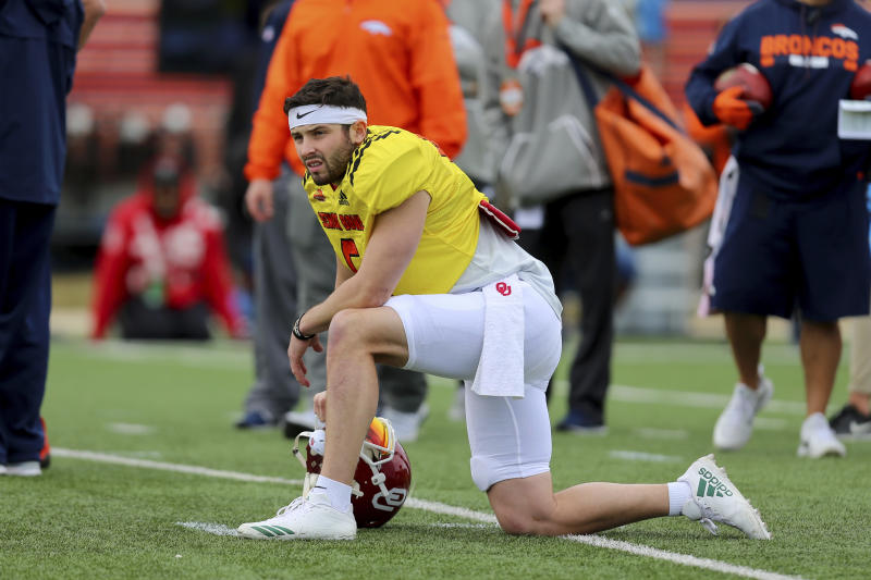 Talent evaluators liked what they saw out of Baker Mayfield this week at the Senior Bowl. (AP)