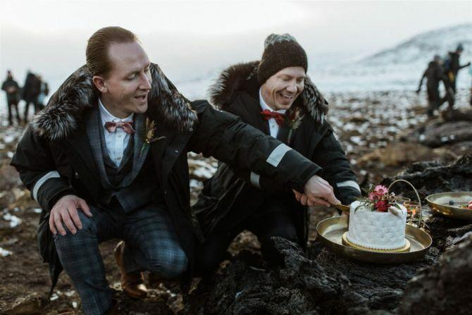 Gay couple tie the knot at the foot of an erupting Icelandic volcano