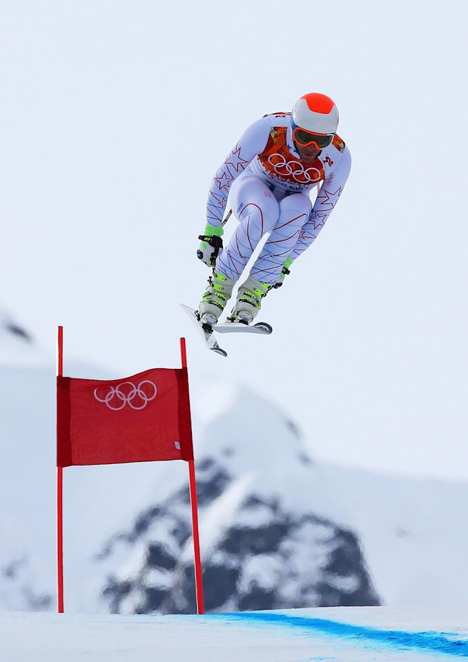 SOCHI, RUSSIA - FEBRUARY 09: Bode Miller of the United States skis during the Alpine Skiing Men's Downhill at Rosa Khutor Alpine Center on February 9, 2014 in Sochi, Russia. (Photo by Alexander Hassenstein/Getty Images)