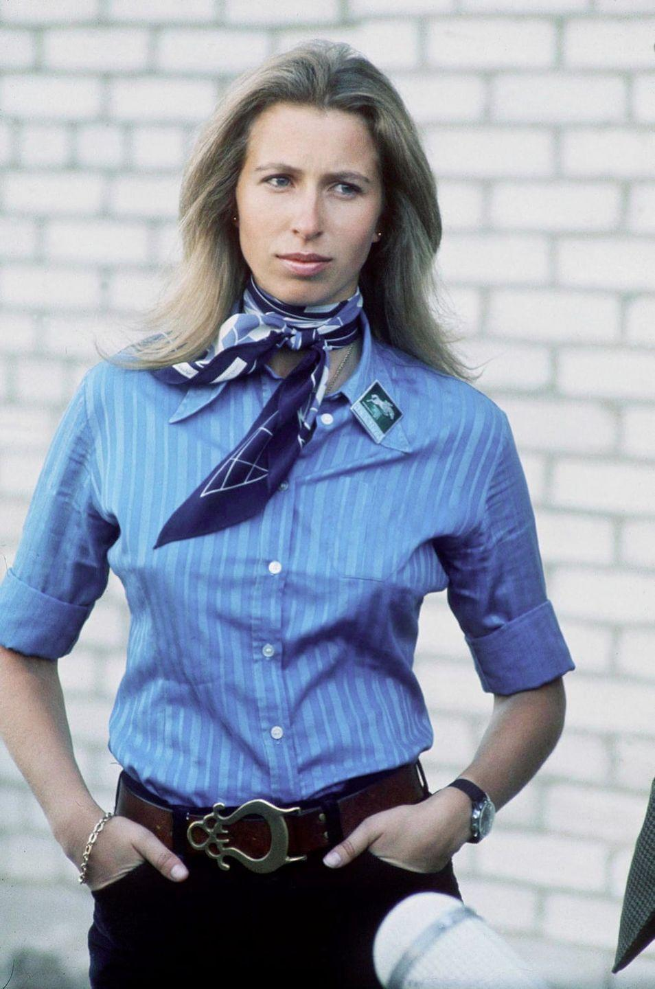 <p>Pictured in 1973, wearing a neck-tie paired with a classic blue shirt and elegant jewellery.</p>
