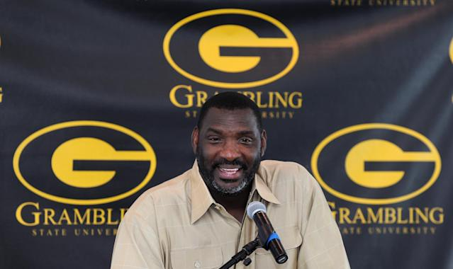 FILE - In this Aug. 12, 2012, file photo, Grambling State head coach Doug Williams talk with reporters during a news conference about the Port City Classic NCAA college football game in Shreveport, La. Grambling State announced Wednesday, Sept. 11, 2013, that they fired Williams, and bought out the remainder of his contract after the team lost its first two games of the season. (AP Photo/The Shreveport Times, Jim Hudelson)