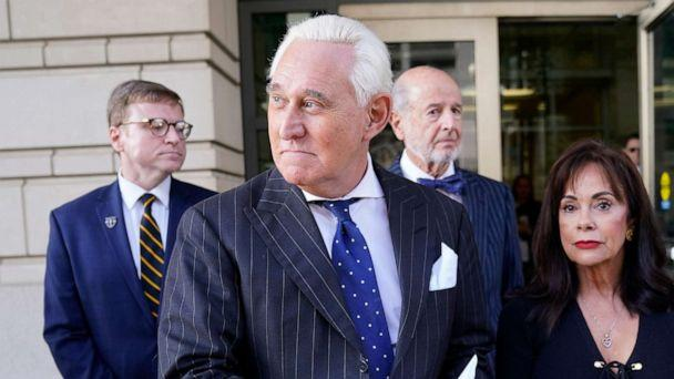 PHOTO: Former adviser to President Donald Trump, Roger Stone, departs the E. Barrett Prettyman United States Courthouse with his wife after being found guilty of obstructing a congressional investigation on Nov. 15, 2019, in Washington. (Win Mcnamee/Getty Images)