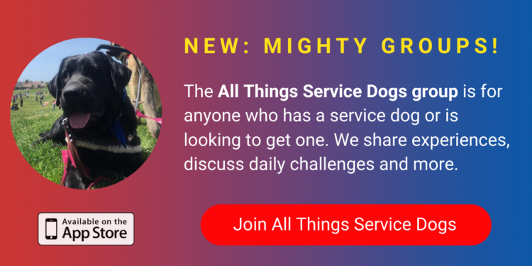 A banner promoting The Mighty's new All Things Service Dogs group on The Mighty mobile app. The banner reads, The All Things Service Dogs group is for anyone who has a service dog or is looking to get one. We share our personal experiences, talk about daily challenges and more. Click to join.