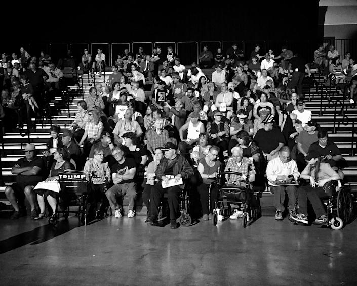 <p>Trump supporters await the candidate at a campaign rally on May 24 in Albuquerque. (Photo: Holly Bailey/Yahoo News) </p>
