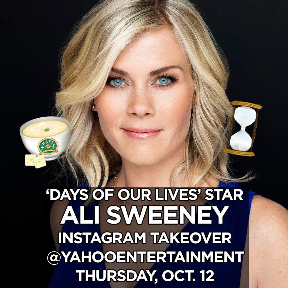 "<p>Hey guys! Super excited to be taking over <a rel=""nofollow"" href=""https://www.instagram.com/YahooEntertainment/"">@YahooEntertainment</a> today leading up to Sami's return to <a rel=""nofollow"" href=""https://www.instagram.com/explore/tags/days/"">#Days </a>tomorrow Friday the 13th!! Follow along with us and head over to their Instagram! <a rel=""nofollow"" href=""https://www.instagram.com/explore/tags/takeover/"">#Takeover</a> <a rel=""nofollow"" href=""https://www.instagram.com/explore/tags/samisback/"">#SamisBack</a> <a rel=""nofollow"" href=""https://www.instagram.com/explore/tags/dool/"">#DOOL</a><br /><br />(Photo: Instagram) </p>"