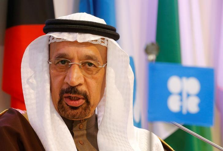 Saudi Arabia's energy minister al-Falih addresses a news conference after an OPEC meeting in Vienna