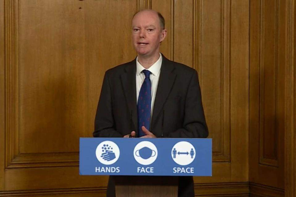 <p>Chief Medical Officer Chris Whitty during a media briefing on coronavirus</p> (PA)