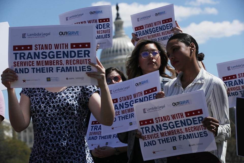 Protesters join a rally at the US Capitol in April 2019 against a ban on transgender service members in the US military. (Getty Images)