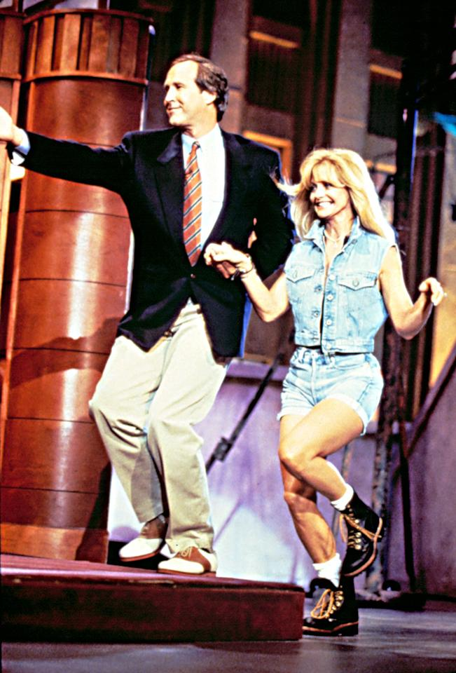 "Chevy Chase and Goldie Hawn on the debut episode of ""The Chevy Chase Show"" which aired on September 7, 1993."