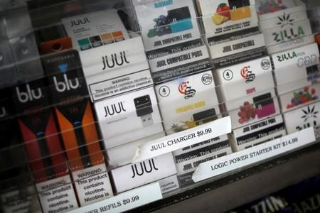 FILE PHOTO: Vaping products are seen for sale at a shop in Manhattan in New York