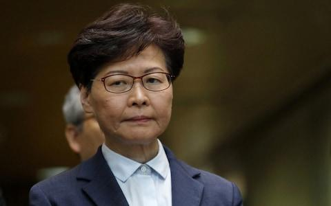 Carrie Lam has rarely spoken in public since the unrest began - Credit: Bloomberg