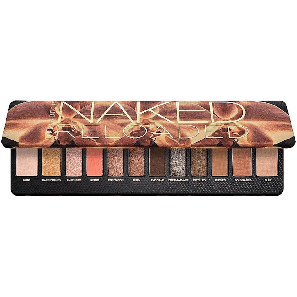 "<p>After a brief hiatus, an Urban Decay eye shadow palette is back on our most-purchased list and here to reclaim its throne. The Naked Reloaded, a little sister of the fan-favorite Naked palette family, contains 12 shades in a mix of matte and shimmer.</p> <p><strong>$44</strong> (<a href=""https://shop-links.co/1704456522256962075"" rel=""nofollow noopener"" target=""_blank"" data-ylk=""slk:Shop Now"" class=""link rapid-noclick-resp"">Shop Now</a>)</p>"