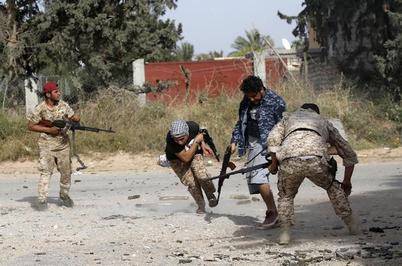 Libyan fighters loyal to the Government of National Accord during clashes with forces loyal to strongman Khalifa Haftar on Saturday (AFP Photo/Mahmud TURKIA)