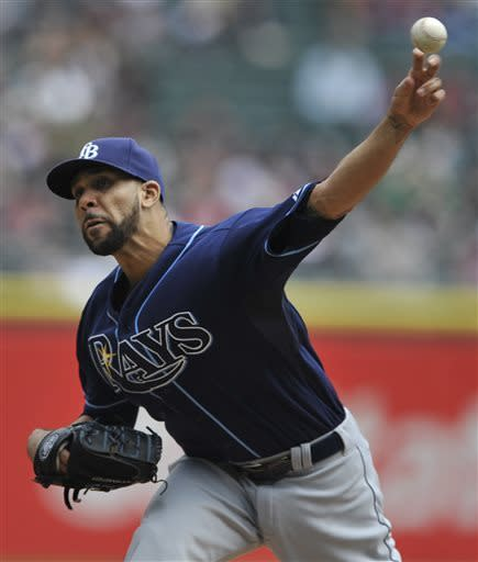 Tampa Bay Rays starting pitcher David Price delivers against the Chicago White Sox during the first inning of a baseball game in Chicago, Sunday, April 28, 2013. (AP Photo/Paul Beaty)