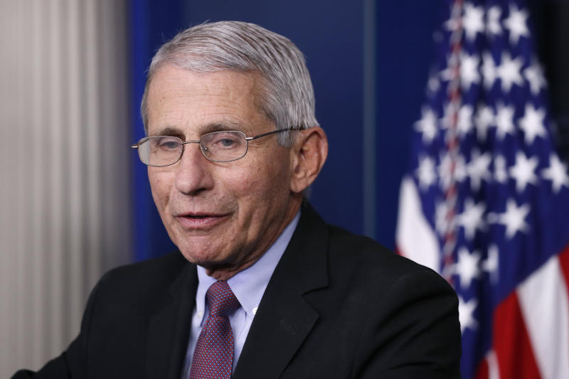 Dr. Anthony Fauci, director of the National Institute of Allergy and Infectious Diseases, speaks about the coronavirus in the James Brady Press Briefing Room of the White House, Wednesday, April 22, 2020, in Washington. (AP Photo/Alex Brandon)