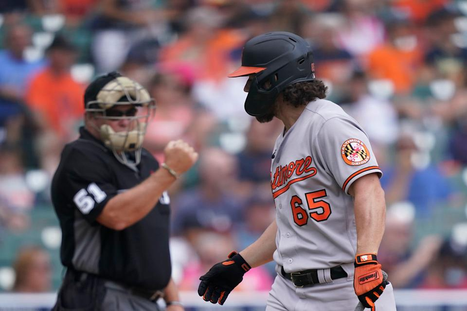 Orioles center fielder Ryan McKenna looks back to umpire Marvin Hudson after being called out on strikes during the fourth inning on Sunday, Aug. 1, 2021, at Comerica Park.