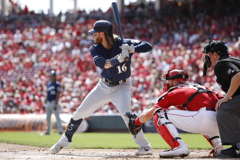 CINCINNATI, OH - SEPTEMBER 26: Ben Gamel #16 of the Milwaukee Brewers bats during a game against the Cincinnati Reds at Great American Ball Park on September 26, 2019 in Cincinnati, Ohio. The Brewers defeated the Reds 5-3. (Photo by Joe Robbins/Getty Images)