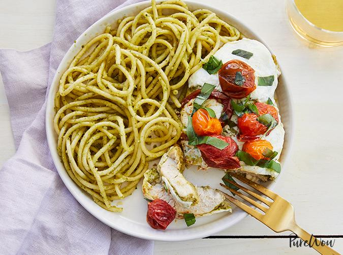 """<p>Why should salads have all the fun?</p> <p><a class=""""cta-button-link"""" href=""""https://www.purewow.com/recipes/baked-caprese-chicken-skillet"""" target=""""_blank"""">Get the recipe</a></p>"""