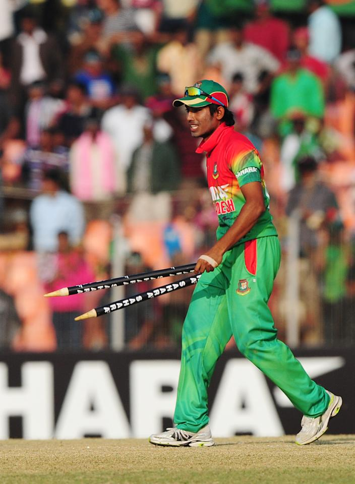 Bangladesh cricket player Anamul Haque reacts after winning the second one day international cricket match between Bangladesh and The West Indies at the Sheikh Abu Naser Stadium in Khulna on December 2, 2012. AFP PHOTO/ Munir uz ZAMAN