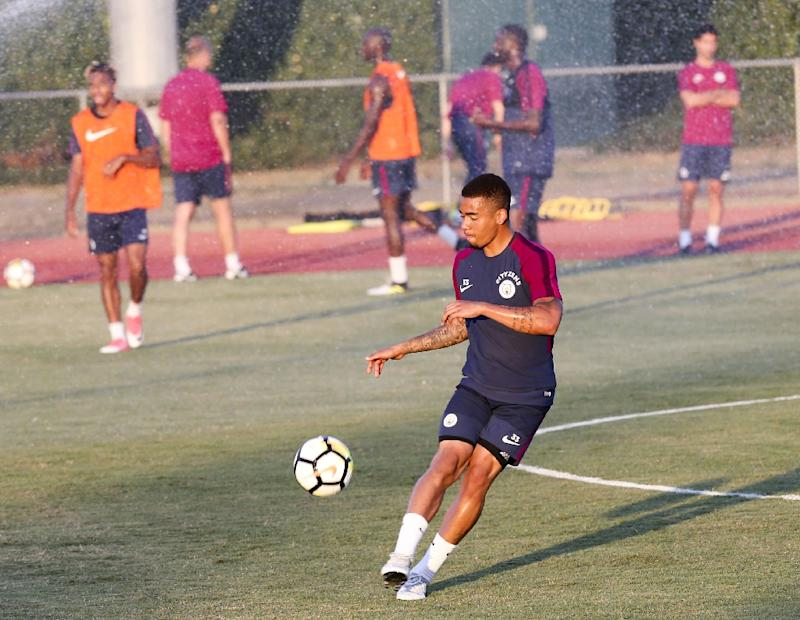 Manchester City's Gabriel Jesus participates in a training session at the Stub Hub Center in Carson California