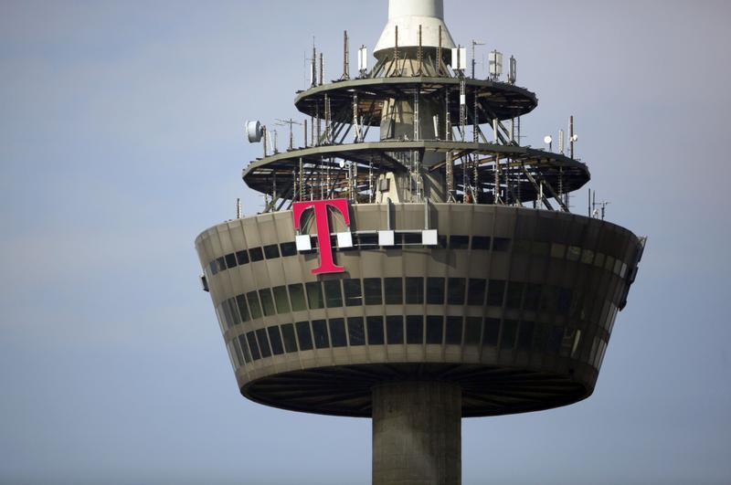 """Logo of Deutsche Telekom is pictured on """"Colonia"""" TV tower in Cologne"""