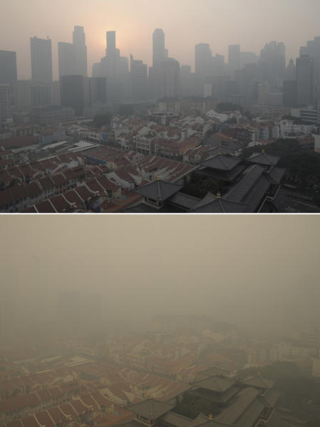 In this combination photo, Singapore's Central Business District, or CBD, is seen on Thursday, June 20, 2013 with unhealthy levels of haze, top, and at hazardous levels where the CBD is no longer visible on Friday, June 21, 2013, bottom. Air pollution in Singapore has soared to record heights for a third consecutive day, as Indonesia prepared planes and helicopters to battle raging fires blamed for hazardous levels of smoky haze in three countries. The blazes in peat swamp forests on Indonesia's Sumatra island have sent massive plumes of smog across the sea to neighboring Singapore and Malaysia. (AP Photo/Joseph Nair)