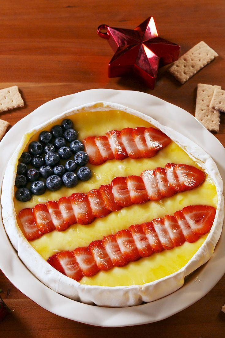 """<p>Nothing more American than a cheese flag.</p><p>Get the recipe from <a href=""""https://www.delish.com/cooking/recipe-ideas/a21947832/4th-of-july-brie-recipe/"""" rel=""""nofollow noopener"""" target=""""_blank"""" data-ylk=""""slk:Delish."""" class=""""link rapid-noclick-resp"""">Delish.</a></p>"""