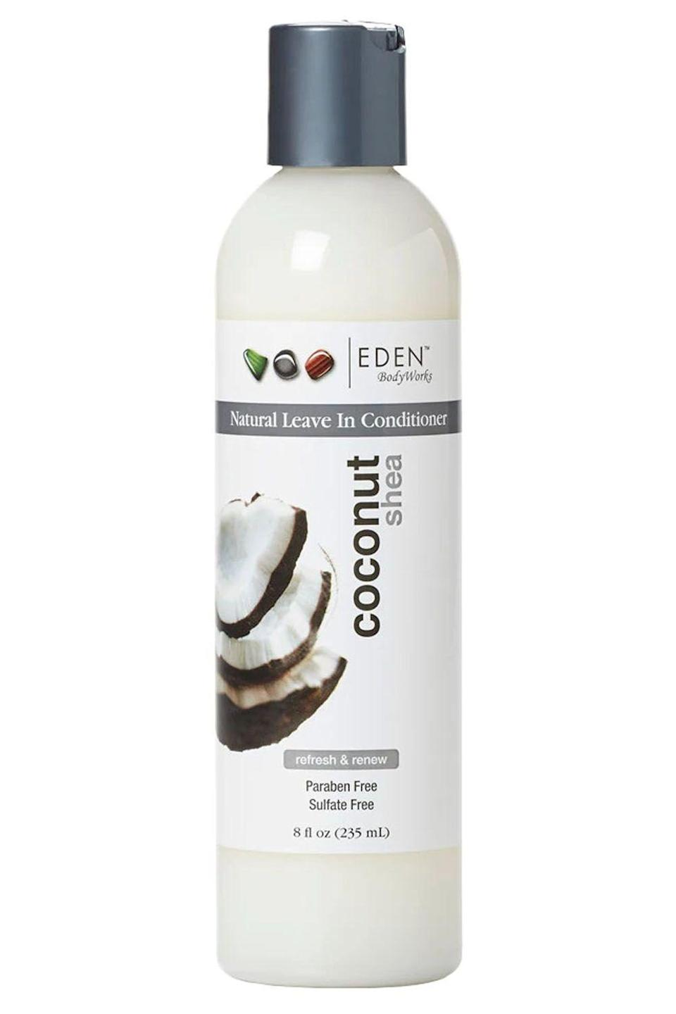 """<p><strong>EDEN BodyWorks</strong></p><p>amazon.com</p><p><strong>$7.76</strong></p><p><a href=""""https://www.amazon.com/dp/B00IYM6J4W?tag=syn-yahoo-20&ascsubtag=%5Bartid%7C10049.g.33904669%5Bsrc%7Cyahoo-us"""" rel=""""nofollow noopener"""" target=""""_blank"""" data-ylk=""""slk:Shop Now"""" class=""""link rapid-noclick-resp"""">Shop Now</a></p><p>Some leave-in conditioners for natural hair make finding your curl pattern feel like a game of hide-and-seek. Instead of tolerating greasy conditioners that over-saturate your hair,<strong> switch to this lightweight, curl-defining leave-in. </strong>When the <a href=""""https://www.cosmopolitan.com/style-beauty/beauty/g10297243/coconut-oil-products-for-hair/"""" rel=""""nofollow noopener"""" target=""""_blank"""" data-ylk=""""slk:coconut oil"""" class=""""link rapid-noclick-resp"""">coconut oil</a> and shea butter in this formula come together, it's like a Drake and Future collab—they work in tandem, one never overpowering the other, and it's always a hit. </p>"""
