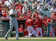 Los Angeles Angels' Albert Pujols is greeted in the dugout after scoring on a ball hit by Mark Trumbo as Detroit Tigers starting pitcher Doug Fister walks to the mound during the third inning of an MLB National League baseball game in Anaheim, Calif., Sunday, April 21, 2013. (AP Photo/Chris Carlson)