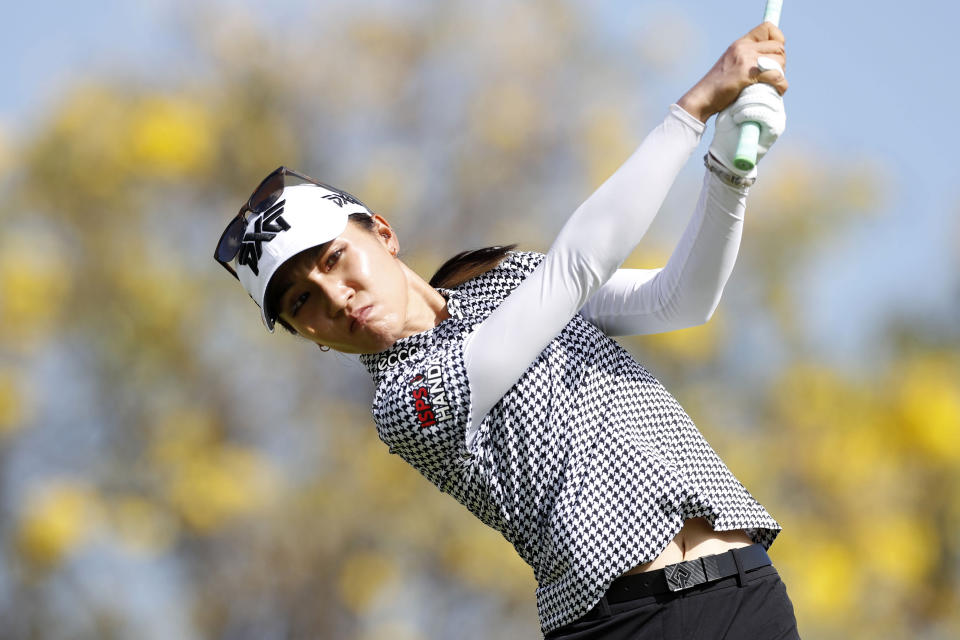 Lydia Ko, of New Zealand, drives off the 14th tee during the final round of the Lotte Championship golf tournament, Saturday, April 17, 2021, in Kapolei, Hawaii. (AP Photo/Marco Garcia)