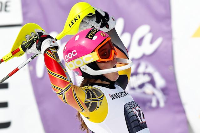 OFTERSCHWANG, GERMANY - MARCH 04: (FRANCE OUT) Marie-Michele Gagnon of Canada competes during the Audi FIS Alpine Ski World Cup Women's Slalom on March 4, 2012 in Ofterschwang, Germany. (Photo by Stanko Gruden/Agence Zoom/Getty Images)