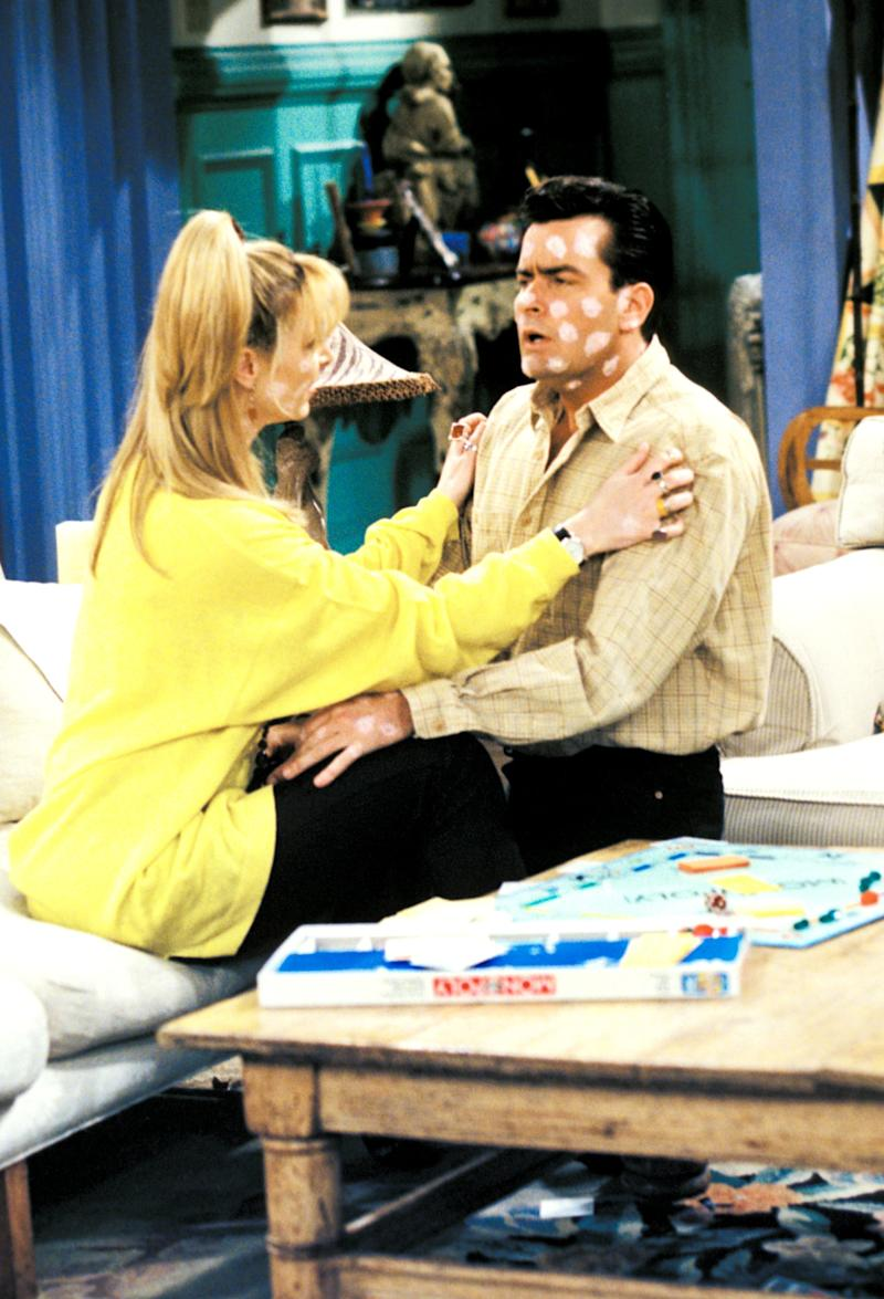 FRIENDS, Lisa Kudrow, Charlie Sheen, 'The One With The Chicken Pox', (Season 2, epis. #223), 1994-2004, Warner Bros. / Courtesy: Everett Collection