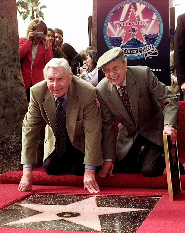 "Don Knotts, right, and Andy Griffith appear together at the unveiling of a star for Knotts on the Walk of Fame in the Hollywood section of Los Angeles Wednesday Jan. 19, 2000. Knotts, in the memorable role of Deputy Barney Fife, played across from Griffith in the ""Andy Griffith Show."" (AP Photo/Nick Ut)"