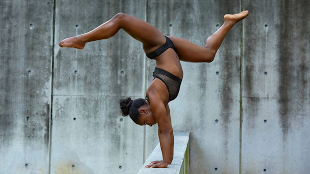 "<a class=""link rapid-noclick-resp"" href=""/olympics/rio-2016/a/1112764/"" data-ylk=""slk:Simone Biles"">Simone Biles</a> will star in the new SI Swimsuit issue. (Via @SI_Swimsuit)"