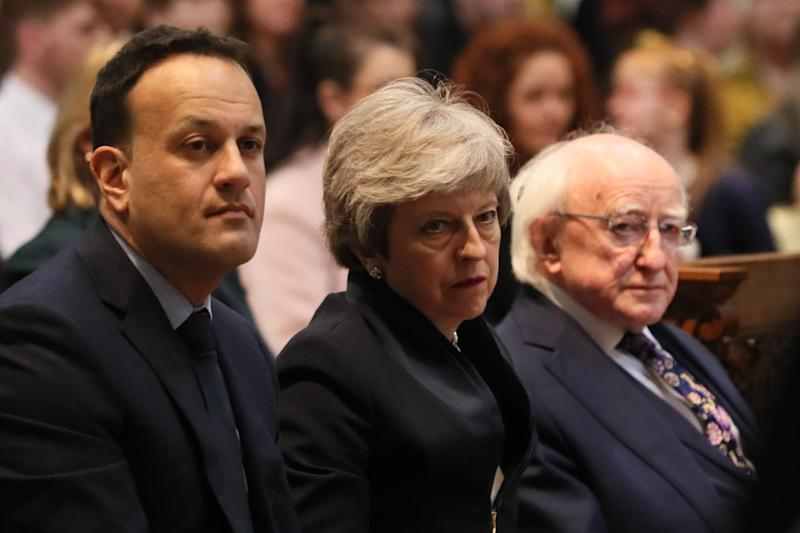 Taoiseach Leo Varadkar , Prime Mnister Theresa May and President Michael D Higgins before the funeral service. (Photo: PA Wire/PA Images)