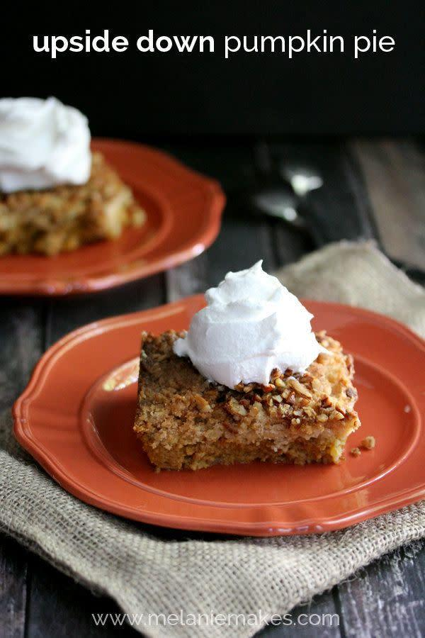 """For everyone who loves the crust of a pumpkin pie more than what's inside, this is the Thanksgiving dessert option for you. <a href=""""http://melaniemakes.com/blog/2014/09/upside-down-pumpkin-pie.html"""" rel=""""nofollow noopener"""" target=""""_blank"""" data-ylk=""""slk:Find the recipe at Melanie Makes"""" class=""""link rapid-noclick-resp"""">Find the recipe at Melanie Makes</a>."""