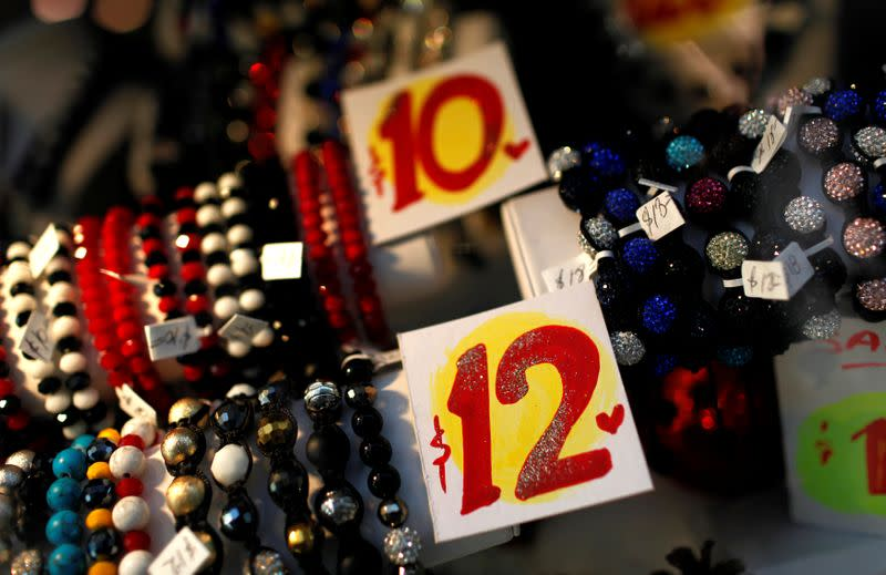 Prices are seen on bracelets in a shop in New York City