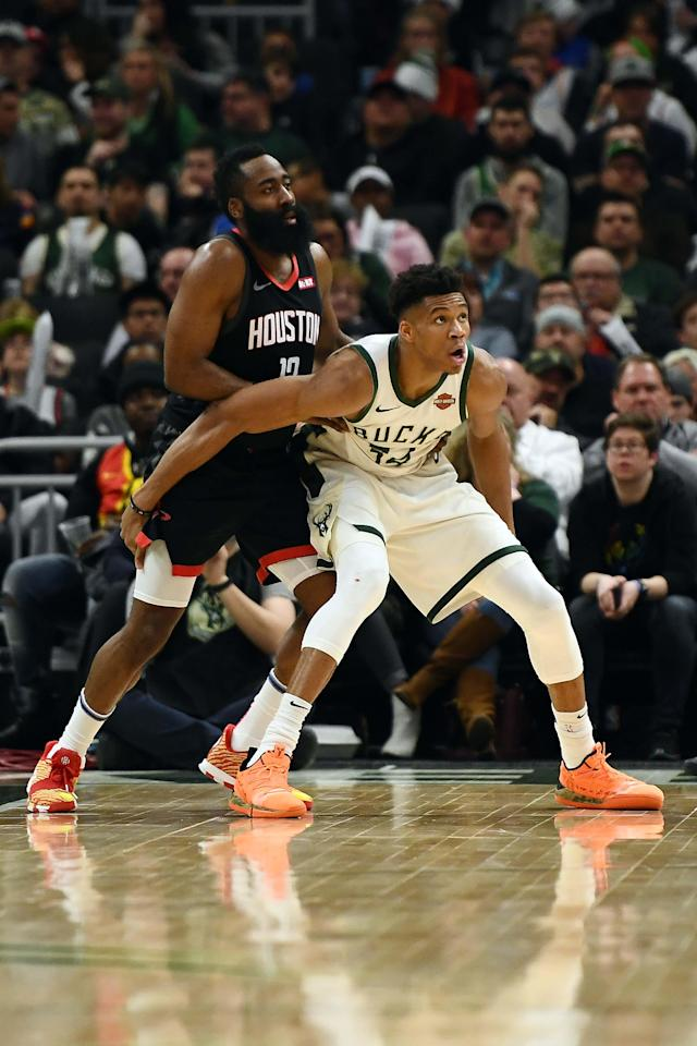 MILWAUKEE, WISCONSIN - MARCH 26: Giannis Antetokounmpo #34 of the Milwaukee Bucks works against James Harden #13 of the Houston Rockets during a game at Fiserv Forum on March 26, 2019 in Milwaukee, Wisconsin. (Photo by Stacy Revere/Getty Images)