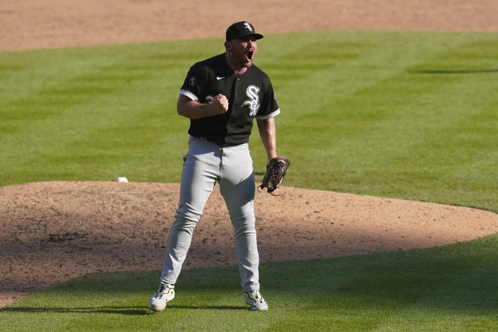 Chicago White Sox relief pitcher Liam Hendriks reacts to the final out in the ninth inning of a baseball game against the Detroit Tigers in Detroit, Monday, Sept. 27, 2021. (AP Photo/Paul Sancya)