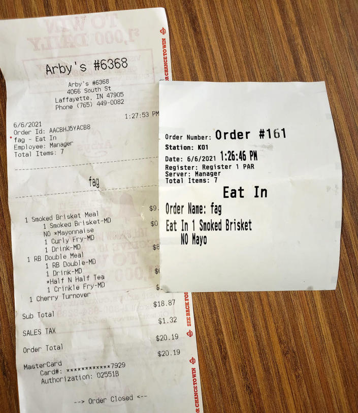 The receipt John Burns and Craig Gray received from Arby's. (John Burns)