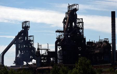 The Tata steelworks are seen in Port Talbot