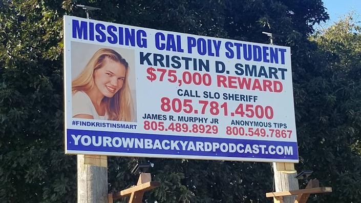 Oceano resident Scott Millar posted a new Kristin Smart billboard at the corner of Highway 1 and Halcyon Road earlier this year.