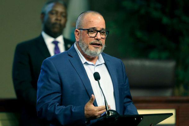PHOTO: Dr. Raul Pino, Health Officer for the Florida Department of Health in Orange County, speaks during a press conference about COVID-19 hotspots in Orange County at the Orange County Administration Center, April 3, 2020, in Orlando, Fla.  (Alex Menendez/AP)
