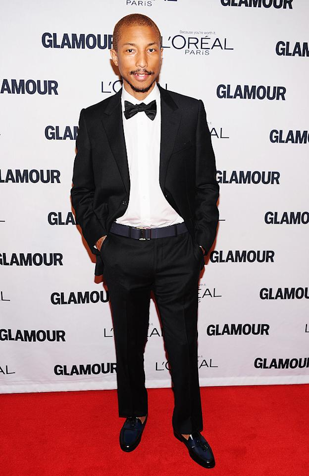 <br>Rapper turned fashion designer, Pharrell Williams, scored an invite to the female-friendly soiree and looked like a stud in his tux and velvet loafers. (11/12/12)