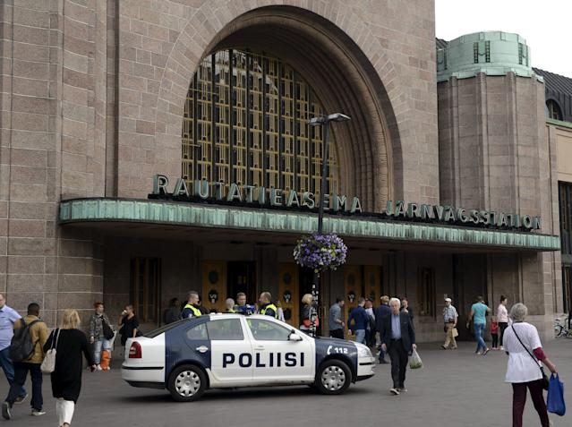 <p>Finnish police patrols in front of the Cenral Railway Station in Helsinki, on Aug. 18, 2017.<br> (Linda Manner/AFP/Getty Images) </p>