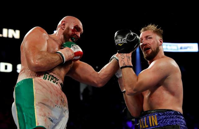 Tyson Fury in action with Otto Wallin on Saturday at the T-Mobile Arena in Las Vegas. (Reuters/Steve Marcus)