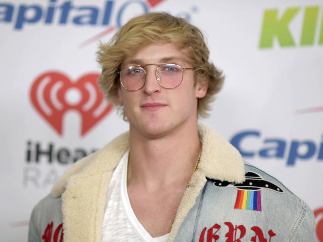 Logan Paul fought KSI to a draw in their boxing match. (Photo by Richard Shotwell/Invision/AP)
