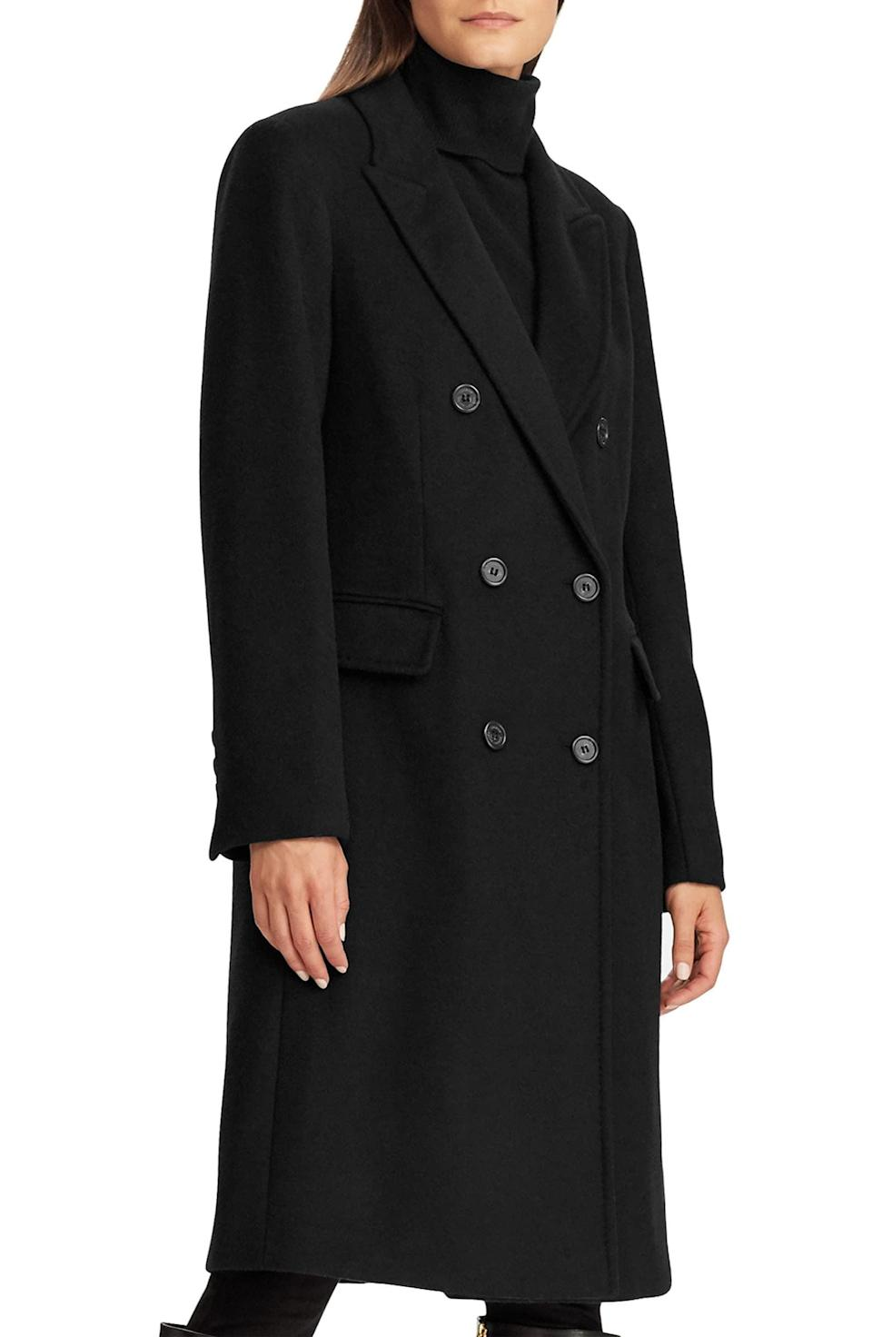 <p>Bring the drama, but still keep their look classic in this <span>Lauren Ralph Lauren Double Breasted Wool Blend Coat</span> ($200, originally $340).</p>