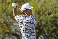 Sungjae Im hits from the sixth tee during the second round of The American Express golf tournament on the Pete Dye Stadium Course at PGA West on Friday, Jan. 22, 2021, in La Quinta, Calif. (AP Photo/Marcio Jose Sanchez)
