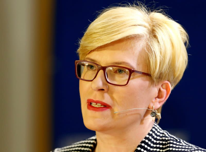 Lithuanian President candidate Ingrida Simonyte speaks during a public discussion in Vilnius